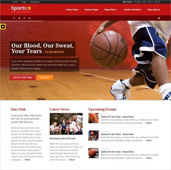43+ Sports Website Themes  Templates Free  Premium Templates