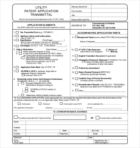 Utility-Patent-Application-Transmittal-Form-Free-Downloadjpg (585 - application form template free download