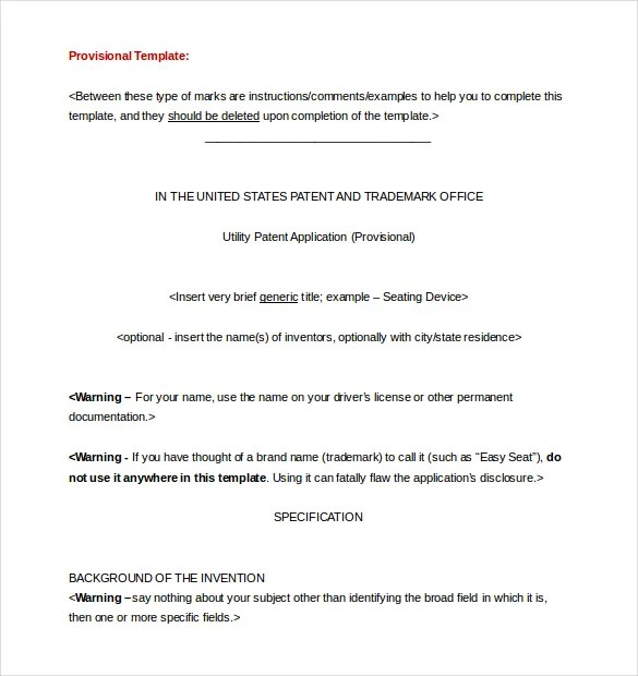 Patent Application Template \u2013 12+ Free Word, PDF Documents Download