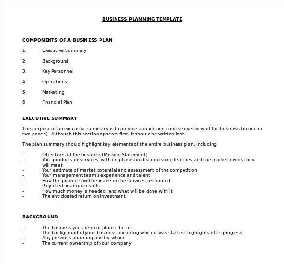 business plan document template