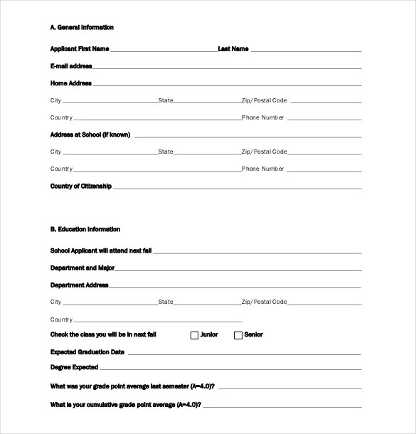 11+ Scholarship Application Templates - PDF, DOC Free  Premium - general application form