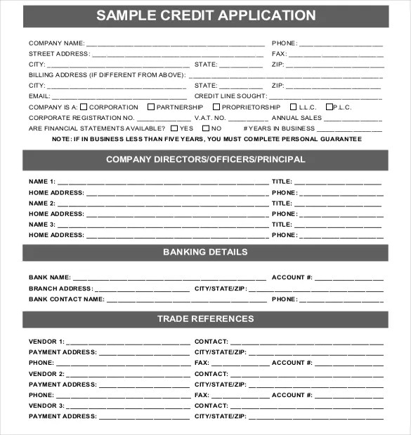18 + Credit Application Templates - Free Google Docs, Apple Pages
