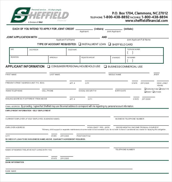 Sample Credit Card Application Form 11 Sample Credit Application - application form template free