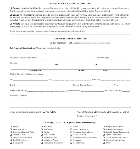15+ Membership Application Templates \u2013 Free Sample, Example, Format