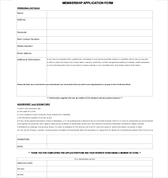 Free Church Membership Forms Template