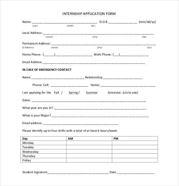 sample internship application form - Ozilalmanoof - application form sample