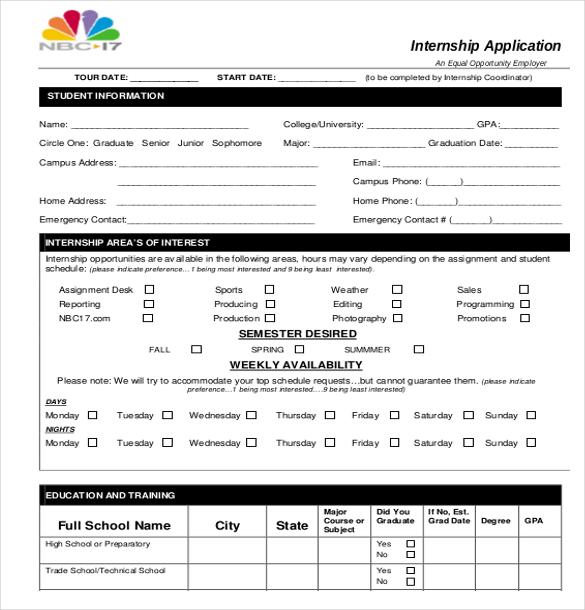 15+ Internship Application Templates \u2013 Free Sample, Example, Format