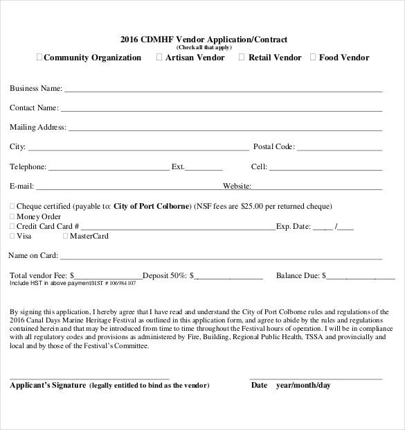 10+ Vendor Application Templates \u2013 Free Sample, Example, Format