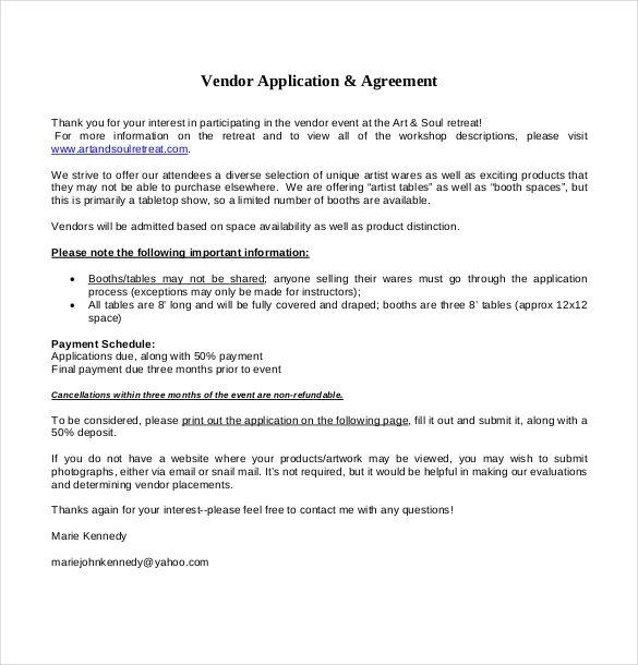 event vendor application template