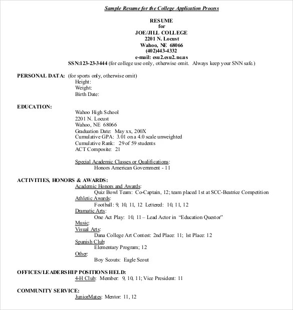 Examples Of High School Resumes For College Sample College - college application resume format