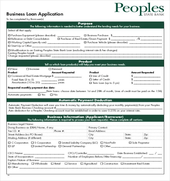 Auto Loan Application Form Template | Free Resume Templates ...