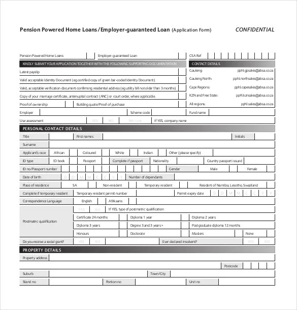 Loan Application Templates - 6+ Free Sample, Example, Format - loan templates