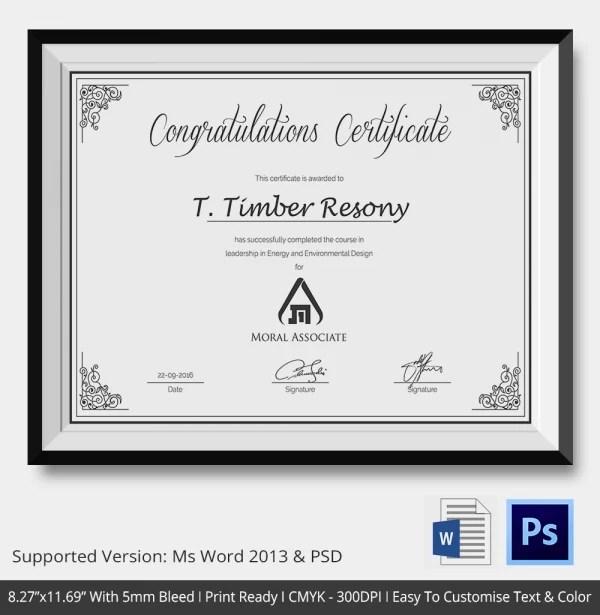 Congratulations Certificate Template - 10+ Word, PSD, Documents