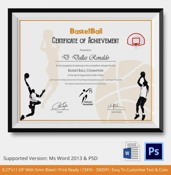 Certificate of achievement certificate of achievement basketball basketball tournament certificate template gallery certificate yadclub Image collections