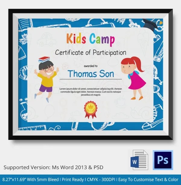 Thank You Certificate Template- 10+ Free PDF, PSD, Vector Format - certificate template for kids
