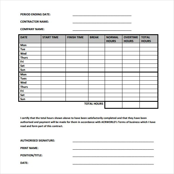 20+ Contractor Timesheet Templates \u2013 Free Sample, Example Format