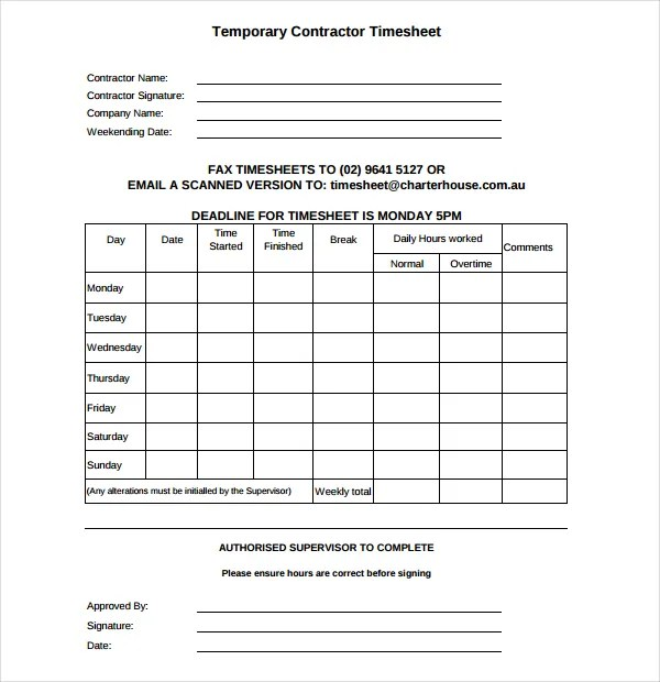 21 daily timesheet templates free sample example format