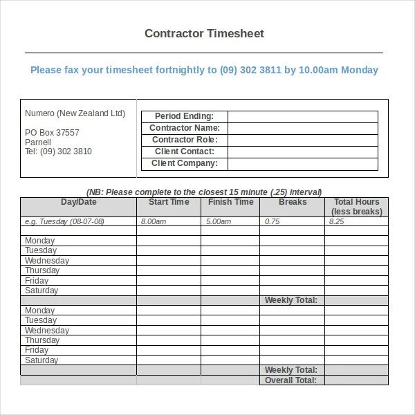 Sample Excel Timesheet Daily Timesheet Template Excel Blank Time - microsoft excel timesheet template