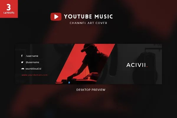 youtube banner template psd - Acurlunamedia - yt banner template