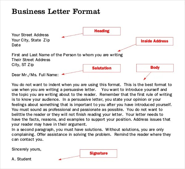 free letter writing templates - free format letter