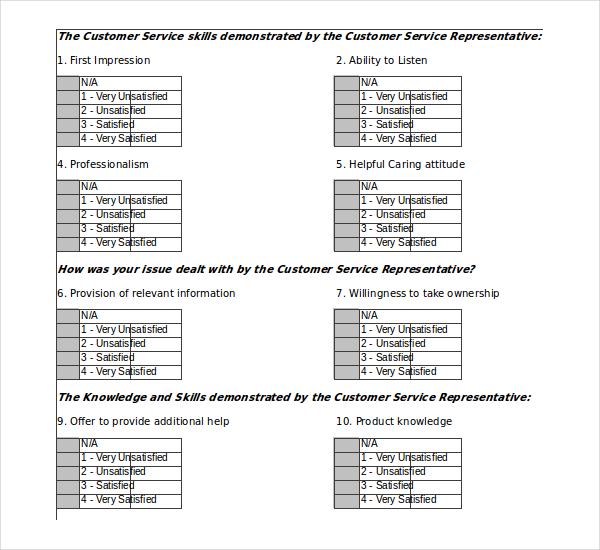 Customer Survey Templates \u2013 17+ Free Word, Excel, PDF Documents