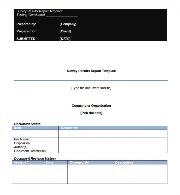 Survey Report template \u2013 8+ Free Word, PDF Documents Download Free