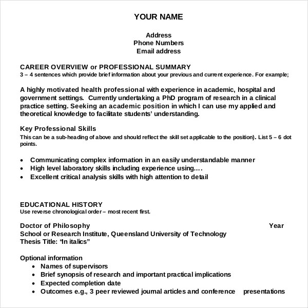 Resume Writing Template \u2013 10+ Free Word, PDF, PSD Documents Download - resume career overview example