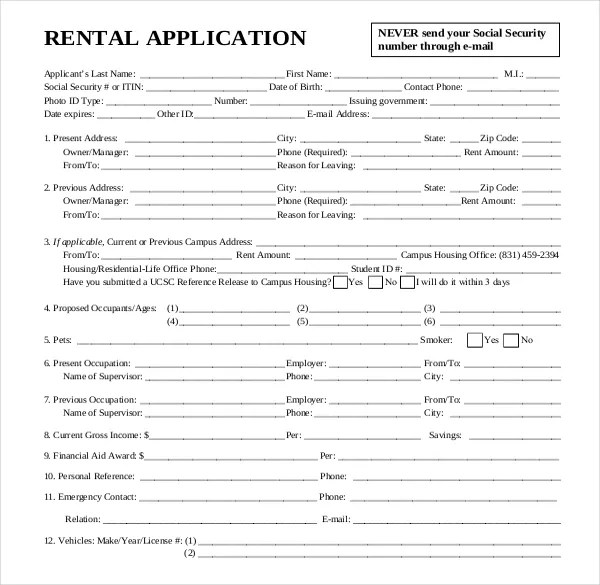 housing lease application form - Pinephandshakeapp