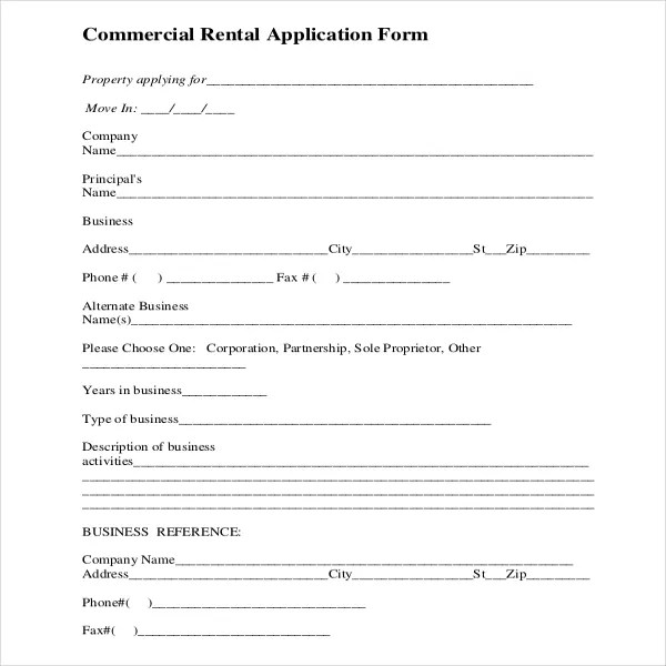 free tenant application form template
