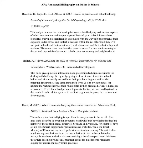 10+ Simple Annotated Bibliography Templates \u2013 Free Sample, Example - annotated bibliography template apa