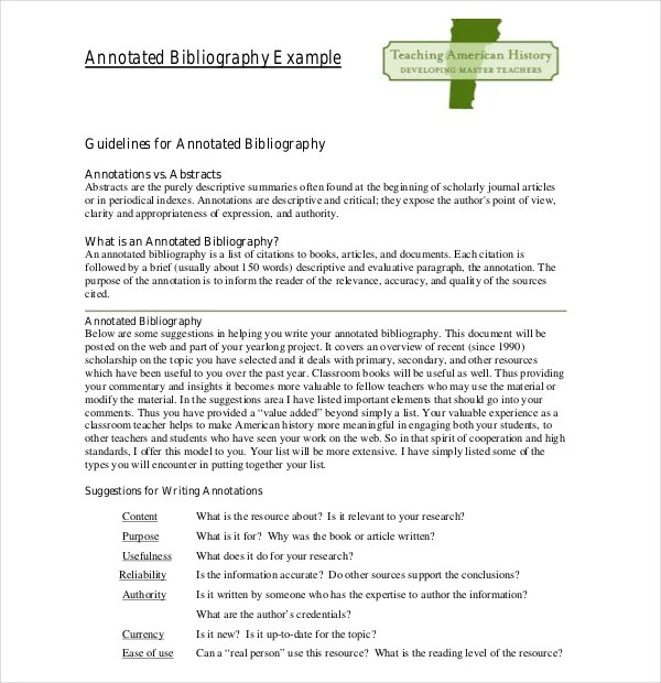 10+ Simple Annotated Bibliography Templates \u2013 Free Sample, Example