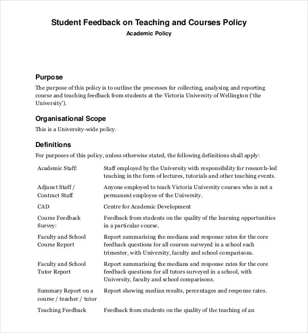Feedback Survey Templates \u2013 18+ Free Word, Excel, PDF Documents - student feedback form in doc