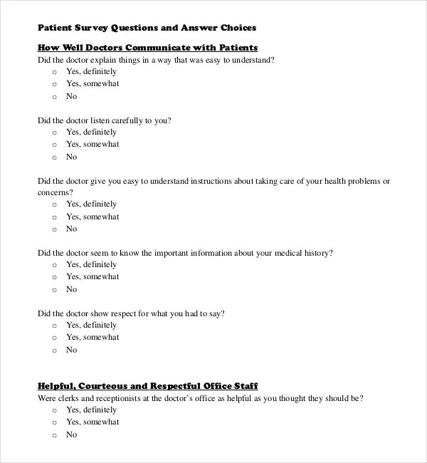 Survey Questions Template \u2013 10+ Free Word, Excel, PDF Documents