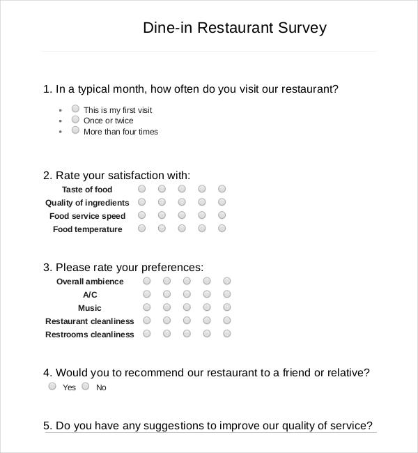 restaurant survey example
