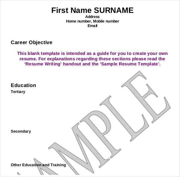 12+ Resume Writing Template \u2013 Free Sample, Example Format Download - Guide To Create Resumebasic Resume Templates