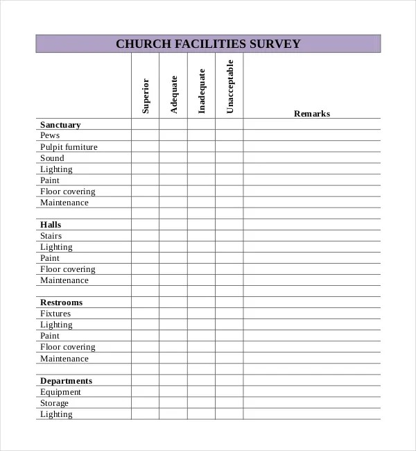 Church Survey Template u2013 11+ Free Word, PDF Documents Download - free survey templates