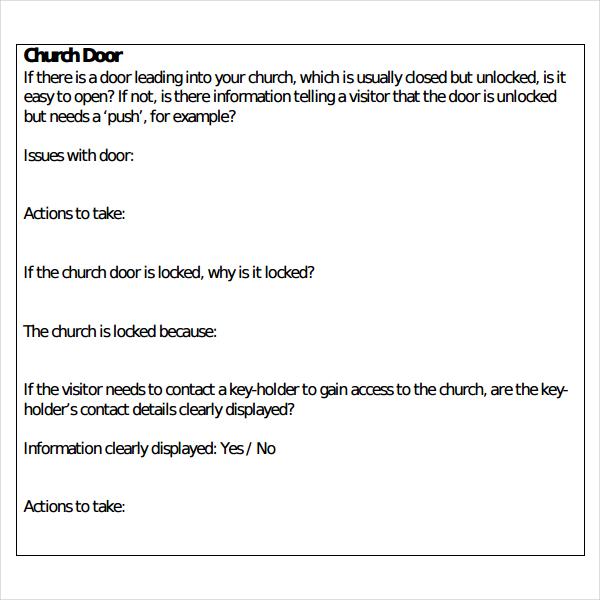 Church Survey Template \u2013 11+ Free Word, PDF Documents Download