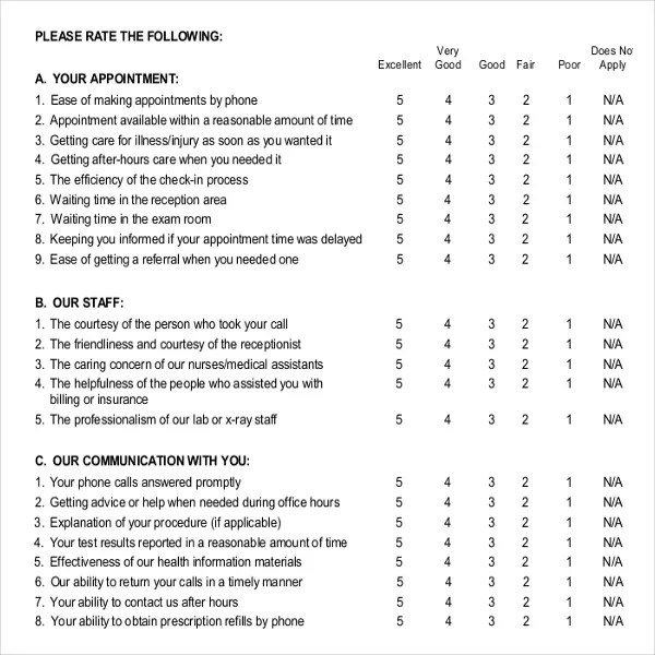 Patient Survey Template \u2013 10+ Free Word, PDF Documents Download - patient satisfaction survey template