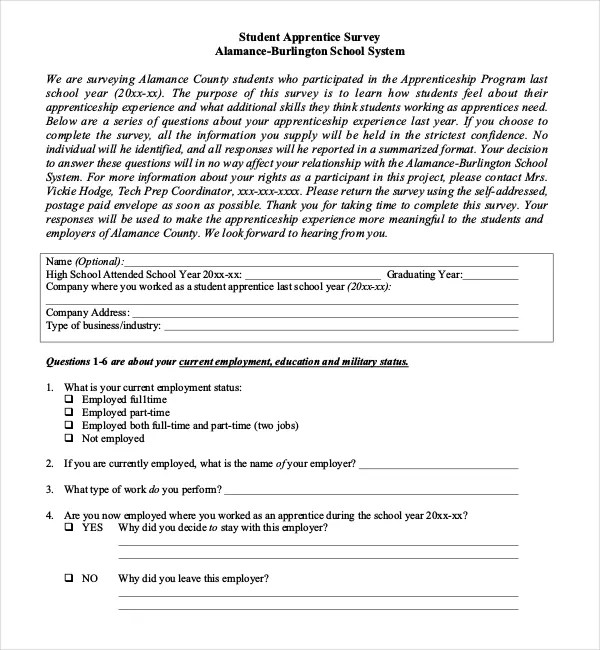 19+ Student Survey Templates \u2013 Free Sample, Example, Format Download - sample student survey