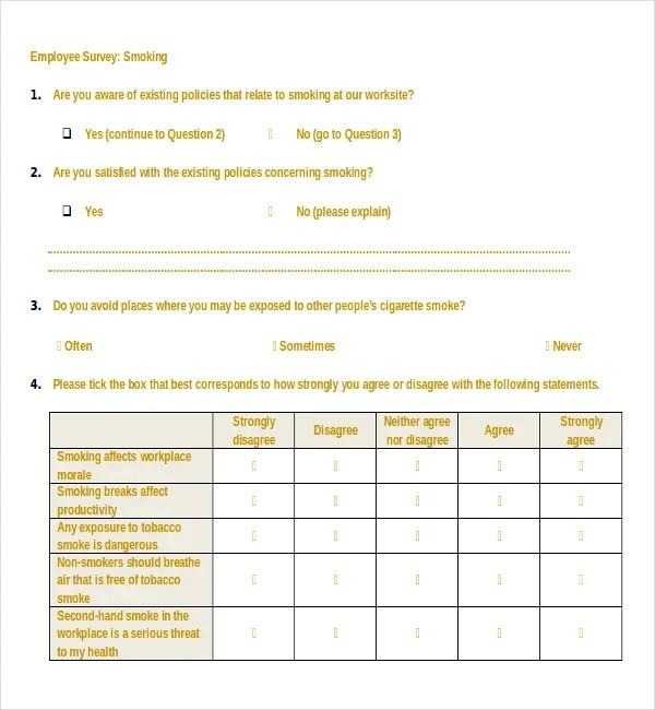 18+ Employee Survey Templates u2013 Free Sample, Example, Format - employee survey