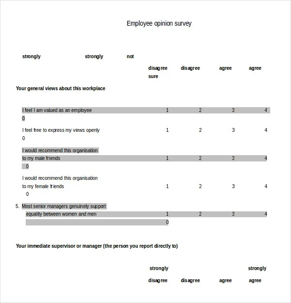 18+ Employee Survey Templates u2013 Free Sample, Example, Format - free survey templates