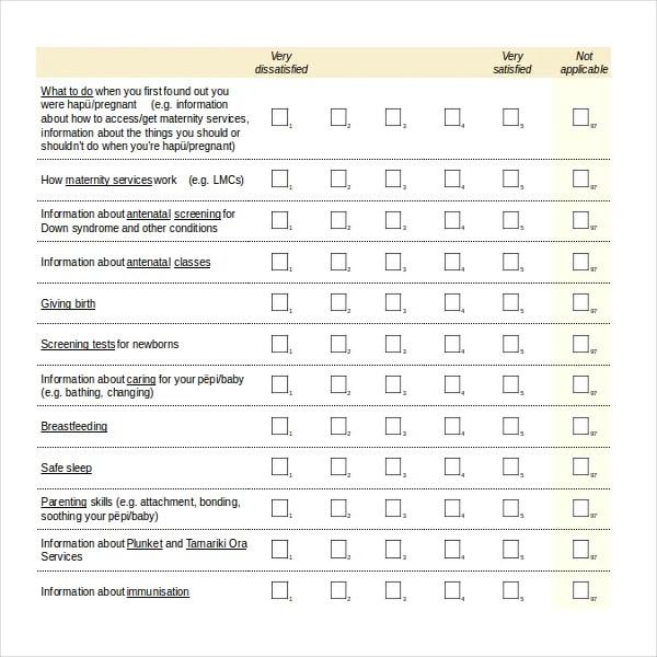 Health Survey Template Questionnaire Template 07 30+ - patient satisfaction survey template