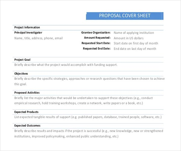 11+ Cover Sheet Templates \u2013 Free Sample, Example Format Download - cover sheet example