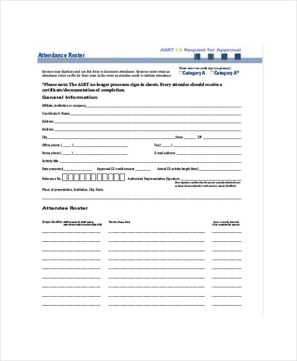 Attendance Roster Template - 7+ Free Word, PDF Documents Download - blank roster
