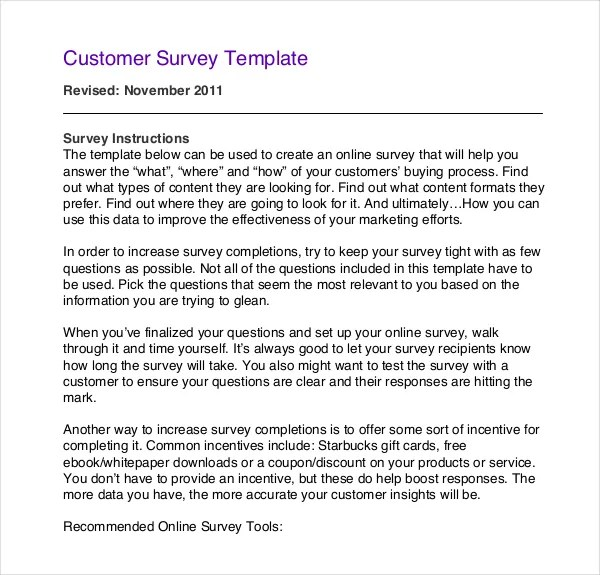 12+ Customer Survey Templates u2013 Free Sample, Example, Format - coupon disclaimer examples