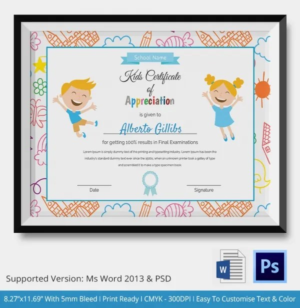 Kids Certificate Template - 14+ PDF, PSD, Vector Format Download - free certificate template for kids