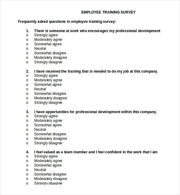 17+ Training Survey Templates \u2013 Free Sample, Example, Format - sample training survey