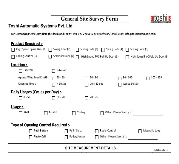 12+ Site Survey Templates u2013 Free Sample, Example, Format Download - free survey templates