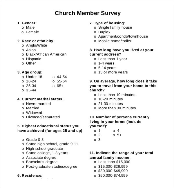 14+ Church Survey Templates \u2013 Free Sample, Example, Format Download