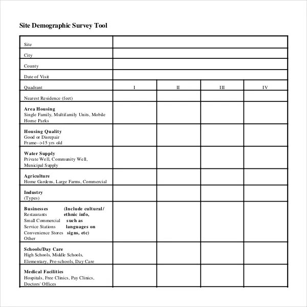 11+ Demographic Survey Templates u2013 Free Sample, Example, Format - site survey template